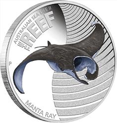 Australia - 2012, 50 cents - Życie morskie rafy II - Manta Ray - monety
