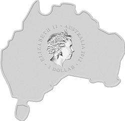 Australia - 2012, 1 dolar - Map Shape - Kookaburra