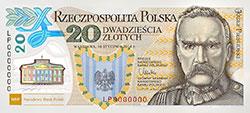 20 z� 2014 - J�zef Pi�sudski - 100. rocznica utworzenia Legion�w Polskich - banknot - monety
