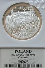200 000 zł 1992 EXPO'92 Sevilla - Grading PR65 - monety