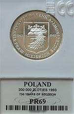 200 000 zł 1993 750 Rocznica Nadania Praw Miejskich Szczecinowi - grading PR69 - monety