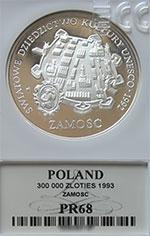 300 000 zł 1993 Zamość - Grading PR68 - monety