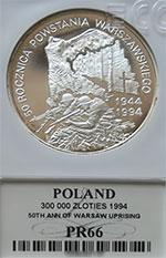 300 000 zł 1993 50 Rocznica Postania Warszawskiego - Grading PR66