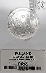 100 000 zł 1991 Żołnierz Polski na Frontach II Wojny Światowej - Hubal - Grading PR65 - monety