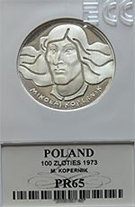 100 zł Mikołaj Kopernik - Grading PR65 - monety