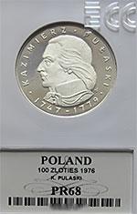 100 zł Kazimierz Pułaski 1976 - GRADING PR68 - monety