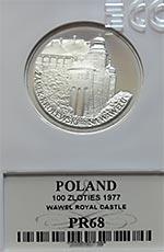 100 zł Zamek Królewski na Wawelu 1977 - Grading PR68 - monety