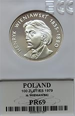 100 zł Henryk Wieniawski 1979 - Grading PR69 - monety