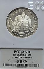 500 zł 1987 XV Zimowe Igrzyska Olimpijskie Calgary 1988 - Grading PR69 + katalog GRATIS