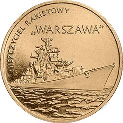"""2 z� 2013 Niszczyciel rakietowy """"Warszawa"""" - monety"""