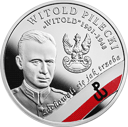 """10 zł 2017 Wyklęci przez komunistów żołnierze niezłomni - Witold Pilecki ps. """"Witold"""" - monety"""