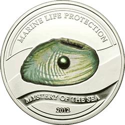Palau - 2012, 5 dolarów - Perła Zielona - słodkowodna