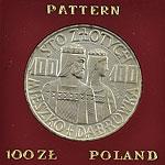 100 zł 1966 Mieszko i Dąbrówka Ag - półpostacie - próba /2 - monety