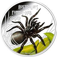 Tuvalu - 2012, 1 dolar - Pająk - Ptasznik - Web Funnel - monety