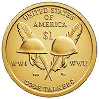 1 dolar 2016 - Native American -  WWI - WWII (P)