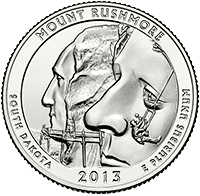 25 Cent�w 2013 - Mount Rushmore National Memorial - South Dakota (D)