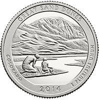 25 Cent�w 2014 - The Great Sand Dunes National Park - Colorado (P) - monety
