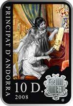 Andora - 2008, 10 Dinarów - Malarze świata - Pierre Auguste Renoir