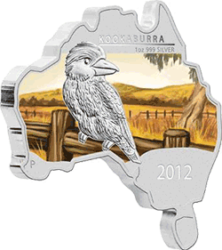 Australia - 2012, 1 dolar - Map Shape - Kookaburra - monety