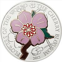 Cook Islands - 2012, 5 Dolarów - Kwiat Wiśni - Cherry blossom - Kwiaty Świata