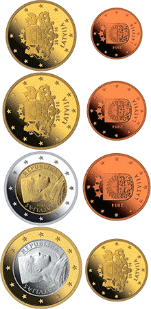 Łotwa - Zestaw monet Euro 2014