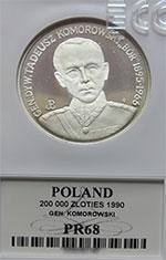 """200 000 zł 1990 Gen.Dyw. Tadeusz Komorowski """"Bór"""" - grading PR68 - monety"""