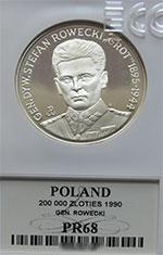"""200 000 zł 1990 Gen.Dyw. Stefan Rowecki """"Grot"""" - grading PR68 - monety"""