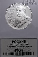 100 000 zł 1992 Wojciech Korfanty - grading PR68