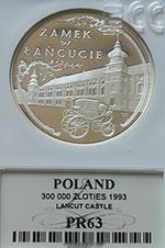 300 000 zł 1993 Zamek w Łańcucie - Grading PR63 - grading
