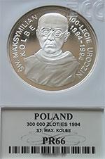 300 000 zł 1994 Święty Maksymilian Kolbe - Grading PR66
