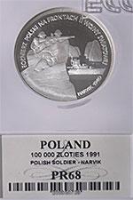 100 000 zł 1991 Żołnierz Polski na Frontach II Wojny Światowej - Narvik - Grading PR68