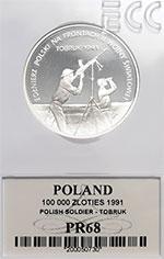 100 000 zł 1991 Żołnierz Polski na Frontach II Wojny Światowej - Tobruk - Grading PR68