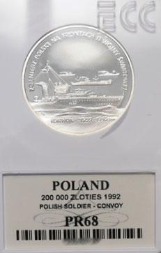 200 000 zł 1992 Żołnierz Polski na Frontach II Wojny Światowej - Konwoje - Grading PR68 - monety