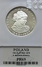 100 zł 1975 Helena Modrzejewska - Grading PR69