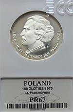100 zł 1975 Ignacy Jan Paderewski - Grading PR67