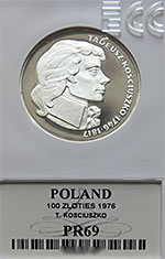 100 zł Tadeusz Kościuszko 1976 - GRADING PR69 - monety