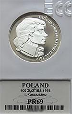 100 zł Tadeusz Kościuszko 1976 - GRADING PR69