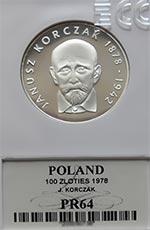 100 zł 1978 Janusz Korczak - Grading PR64