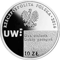 10 zł 2016 200. rocznica utworzenia Uniwersytetu Warszawskiego