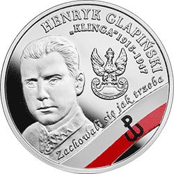 """10 zł 2017 Wyklęci przez komunistów żołnierze niezłomni - Henryk Glapiński """"Klinga"""" - monety"""
