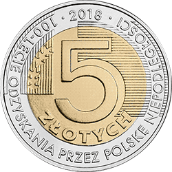 5 zł 2018 100-lecie odzyskania przez Polskę niepodległości - monety
