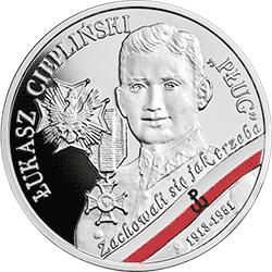 """10 zł 2019 Wyklęci przez komunistów żołnierze niezłomni - Łukasz Ciepliński """"Pług"""" - monety"""