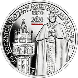 10 zł 2020 100. rocznica urodzin Świętego Jana Pawła II Ag925