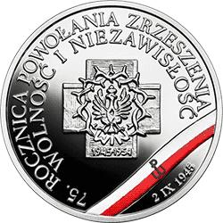 """10 zł 2020 Wyklęci przez komunistów żołnierze niezłomni - 75. rocznica powołania Zrzeszenia """"Wolność i Niezawisłość"""" - monety"""