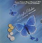 Polskie Monety Obiegowe 2011 - Zestaw 1 grosz - 50 groszy + motyl