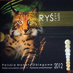 Polskie Monety Obiegowe 2012 - Zestaw 1 grosz - 5 złotych + Ryś (Lynx)