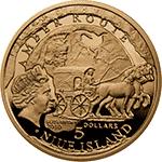 Niue - 2010, 5 dolarów - Szlak Bursztynowy (Amber Route) - Szombathely - Złoto