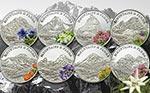 Palau - 2009, 8x 5 dolarów - Kwiaty, Góry - Flora Górska - Zestaw Srebro