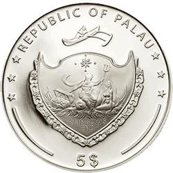 Palau - 2013, 5 dolarów - Perła Niebieska Ostryga