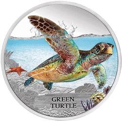 Tuvalu - 2013, 1 dolar - Wymierające gatunki - Żółw zielony - monety